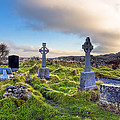 Celtic Crosses In An Old Irish Cemetery by Mark E Tisdale
