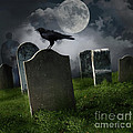 Cemetery With Old Gravestones And Moon by Sandra Cunningham