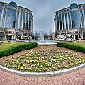 Center Fountain Piece In Piedmont Plaza Charlotte Nc by Alex Grichenko