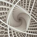 Centered White Spiral-fractal Art by Karin Kuhlmann