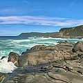 Central Coast Ca Ocean Waves Crashing On Rocks  4 by David Zanzinger