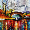 Central Park - Palette Knife Oil Painting On Canvas By Leonid Afremov by Leonid Afremov