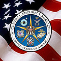Central Security Service - C S S Emblem Over American Flag by Serge Averbukh