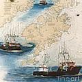 Centurion Trawl Fishing Boat Nautical Chart Art by Cathy Peek