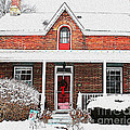 Century Home With Christmas Wreath by Nina Silver