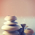 Ceramic Pottery Still Life I - Blue And Orange Sunset by Beverly Claire Kaiya