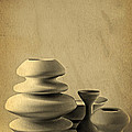 Ceramic Pottery Still Life I - Charcoal Sketch by Beverly Claire Kaiya