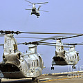 Ch-46e Sea Knight Helicopters Take by Stocktrek Images