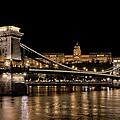 Chain Bridge And Buda Castle Winter Night by Joan Carroll