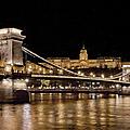 Chain Bridge And Buda Castle Winter Night Painterly by Joan Carroll