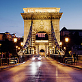 Chain Bridge In Budapest At Night by Artur Bogacki