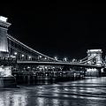 Chain Bridge Night Bw by Joan Carroll