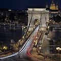 Chain Bridge Night Traffic by Joan Carroll