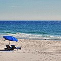 Chairs On The Beach With Umbrella by Michael Thomas