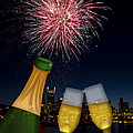 Champagne Toast With Portland Oregon Skyline by JPLDesigns