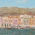 Chania Harbour Early Summer Morning by David Capon