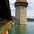 Chapel Bridge And Water Tower In Lucerne Switzerland by Pam  Elliott