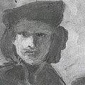 Charcoal Study Of Rembrandt  Self-portrait With Velvet Beret by Anna Ruzsan
