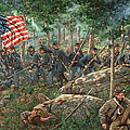 Charge Of The 20th Maine - Joshua L. Chamberlain Leading The 20th Maine Regiment On Little Round Top by Mark Maritato