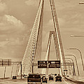 Charleston's Magnificent Cable Bridge In Sepia by Kathy Clark