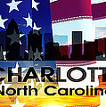 Charlotte Nc Patriotic Large Cityscape by Angelina Vick