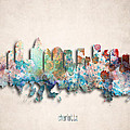 Charlotte Painted City Skyline by World Art Prints And Designs