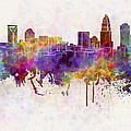 Charlotte Skyline In Watercolor Background by Pablo Romero