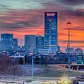 Charlotte The Queen City Skyline At Sunrise by Alex Grichenko