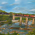 Chattahoochee Choo Choo -  Train On Trestle - Columbus Ga by Jan Dappen