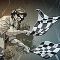 Checkered Flag Grunge Monochrome by Frank Ramspott