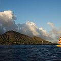 Cheerful Orange Catamaran And Diamond Head - Waikiki - Hawaii by Georgia Mizuleva