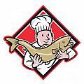Chef Cook Handling Salmon Trout Fish Cartoon by Aloysius Patrimonio