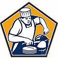 Chef Cook Slicing Ham Retro by Aloysius Patrimonio