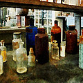Chemistry - Assorted Chemicals In Bottles by Susan Savad