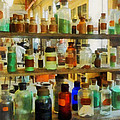 Chemistry - Bottles Of Chemicals Green And Brown by Susan Savad