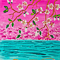 Cherry Blossoms Branch With Water Ripples Acrylic Painting by Beverly Claire Kaiya