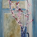 Cherry Blossoms In A Blue Pitcher by Jenny Armitage