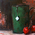 Cherry Tea In Green Mug Painting by Patricia Awapara