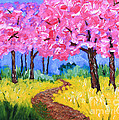 Cherry Trees And Field Mustard After The Rain Acrylic Painting by Beverly Claire Kaiya