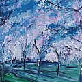 Cherry Trees Impressionism by Eric  Schiabor