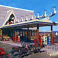 Chevron Gas Station At Santa's Village With Reindeer And Carl Hansen by California Views Archives Mr Pat Hathaway Archives