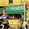 Chez Nick On Greene Avenue Montreal In Summer Cafe Art Westmount Terrace Bistros And Umbrellas by Carole Spandau