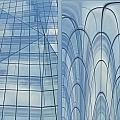 Chicago Abstract Before And After Blue Glass 2 Panel by Thomas Woolworth