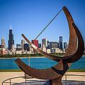 Chicago Adler Planetarium Sundial And Chicago Skyline by Paul Velgos
