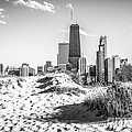 Chicago Beach And Skyline Black And White Photo by Paul Velgos