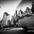 Chicago Bean Cloud Gate In Black And White by Paul Velgos