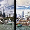 Chicago Buckingham Fountain 2 Panel Looking West And North Black by Thomas Woolworth