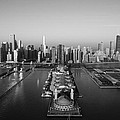 Chicago By Air Bw by Jeff Lewis