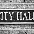 Chicago City Hall Sign In Black And White by Paul Velgos