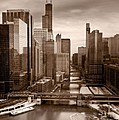 Chicago City View Afternoon B And W by Steve Gadomski